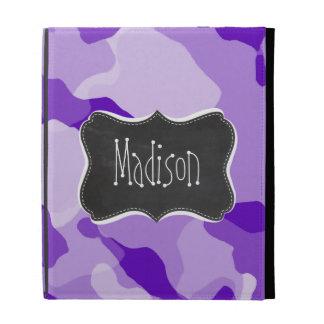 Amethyst Purple Camo; Camouflage; Chalkboard iPad Folio Case