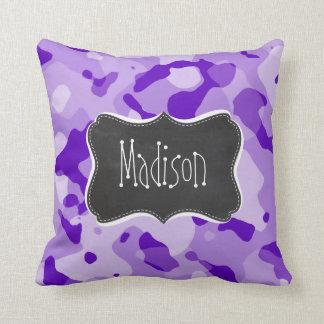 Amethyst Purple Camo; Camouflage; Chalkboard Pillow