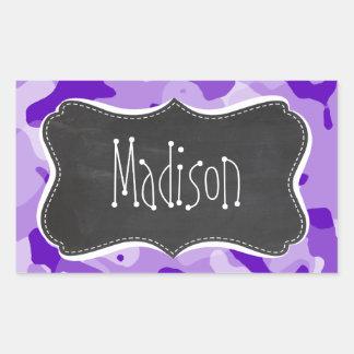 Amethyst Purple Camo; Camouflage; Chalkboard Rectangular Sticker