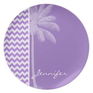 Amethyst Purple Chevron; Palm Plate