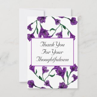 Amethyst Purple Clematis Watercolor Floral Wedding Thank You Card