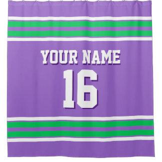 Amethyst Purple Emerald Green Stripe Sports Jersey Shower Curtain