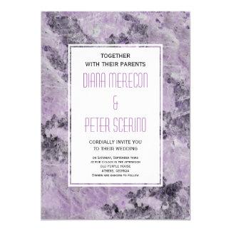 Amethyst purple geode marble modern wedding card