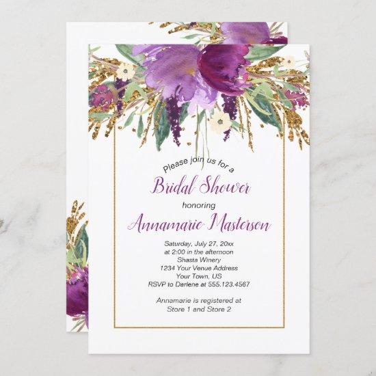 Amethyst Purple Gold Glitter Floral Bridal Shower Invitation