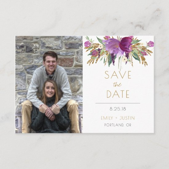 Amethyst Purple Gold Glitter Photo Save The Date |