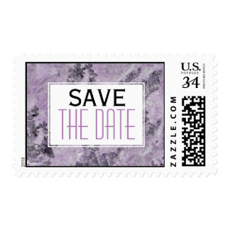 Amethyst purple, grey marble wedding Save the Date Postage