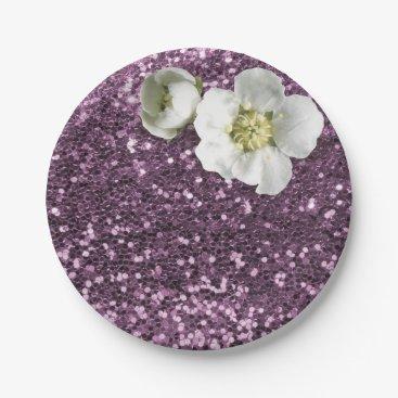 Beach Themed Amethyst Purple Plum White Jasmine Glitter Paper Plate