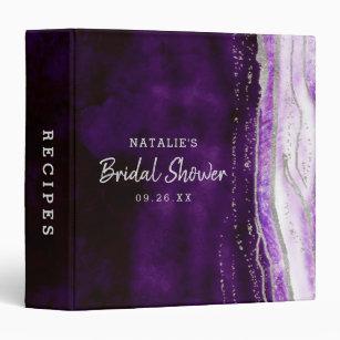 amethyst purple silver bridal shower recipe card 3 ring binder