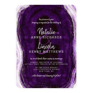 Editable Template Amethyst Geode Rock Purple Agate Slice Wedding Love /& Thanks Card DIY Printable Modern Marble Thank You Folded Cards