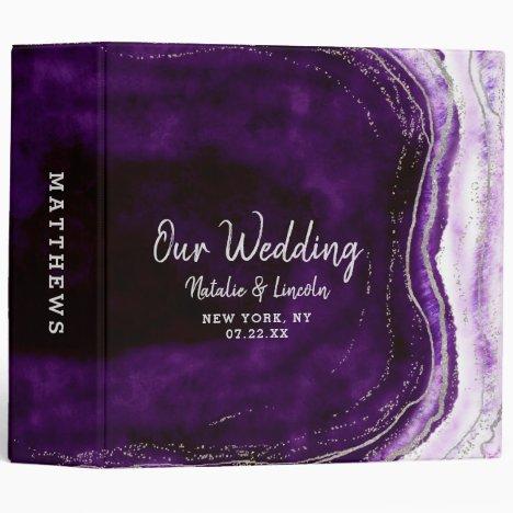 Amethyst Purple & Silver Geode Wedding Photo Album 3 Ring Binder
