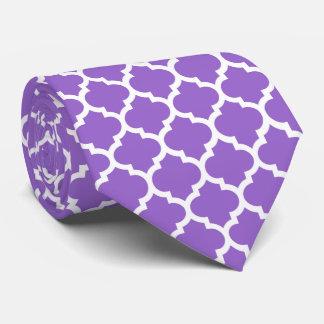 Amethyst Purple Wht Moroccan Quatrefoil Pattern #5 Tie