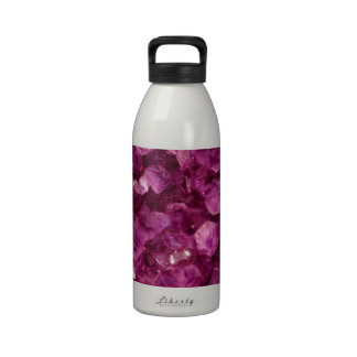 Amethyst Quartz Crystal Purple Precious Stones Reusable Water Bottle