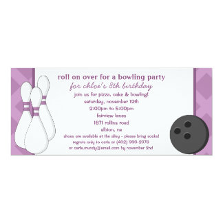 Amethyst Roll on Over Bowling Birthday Party Card