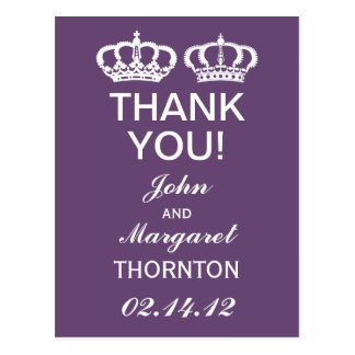 Amethyst Royal Couple Thank You Postcard
