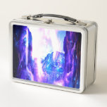 """Amethyst Sapphire Dreams of Hideaway. Mountain Metal Lunch Box<br><div class=""""desc"""">Let your cares fly away as Amethyst Sapphire Hideaway Mountain dance through your mind with Eye of Illumination Designs!</div>"""