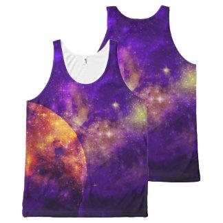 Amethyst Sky, Golden Planet n Nebula Tank Top