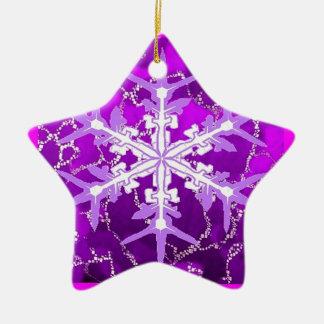 Amethyst Snowflake for Feburary Babies by Sharles Ceramic Ornament