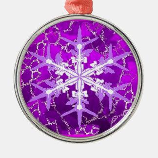 Amethyst Snowflake for Feburary Babies by Sharles Metal Ornament