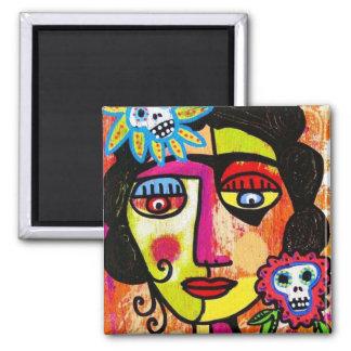 Amethyst Sugar Skull Mexican Woman Magnet