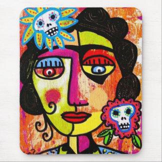 Amethyst Sugar Skull Mexican Woman Mouse Pad