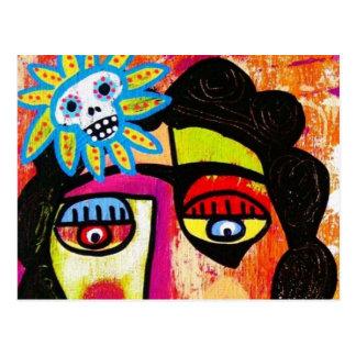 Amethyst Sugar Skull Mexican Woman Postcard