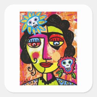 Amethyst Sugar Skull Mexican Woman Square Sticker