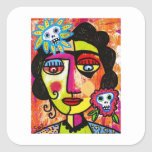 Amethyst Sugar Skull Mexican Woman Sticker