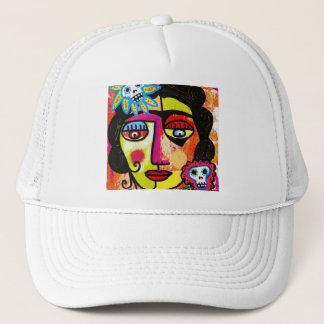 Amethyst Sugar Skull Mexican Woman Trucker Hat
