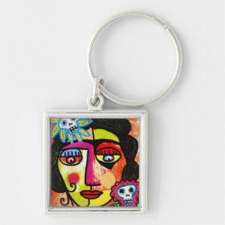 Amethyst Sugar Sull Frida by SilberZweigArts Silver-Colored Square Keychain