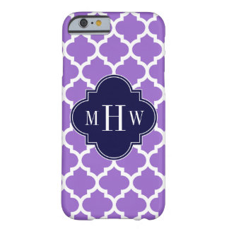 Amethyst White Moroccan #5 Navy 3 Initial Monogram Barely There iPhone 6 Case
