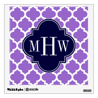 Amethyst White Moroccan #5 Navy 3 Initial Monogram Wall Sticker