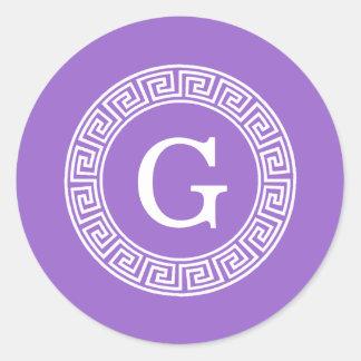 Amethyst Wht Greek Key Rnd Frame Initial Monogram Classic Round Sticker