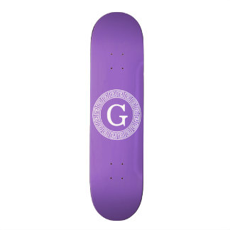 Amethyst Wht Greek Key Rnd Frame Initial Monogram Skateboard Deck