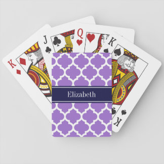 Amethyst Wht Moroccan #5 Navy Blue Name Monogram Playing Cards