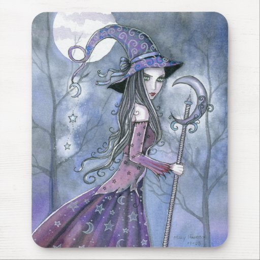 Amethyst Witch Gothic Halloween Art Mousepad