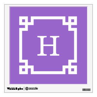 Amethyst Wt Greek Key Frame #2 Initial Monogram Wall Decal