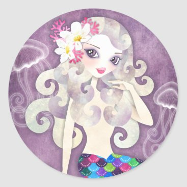 Beach Themed Amethyste Mermaid Stickers Seals