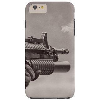 Ametralladora blanco y negro del submarino del funda de iPhone 6 plus tough