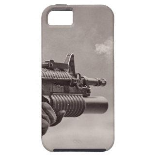 Ametralladora blanco y negro del submarino del sol iPhone 5 Case-Mate cárcasa