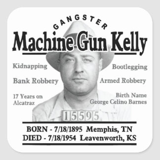 Ametralladora del gángster Kelly Pegatina Cuadrada