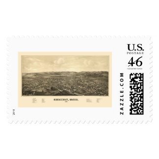 Amherst MA Panoramic Map - 1886 Stamp