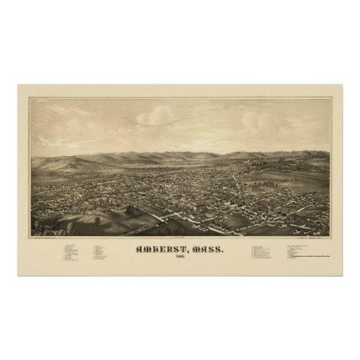 Amherst, MA Panoramic Map - 1886 Poster