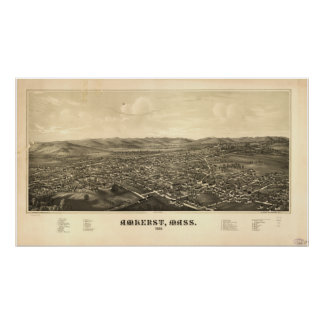 Amherst Massachusetts 1886 Antique Panoramic Map Poster