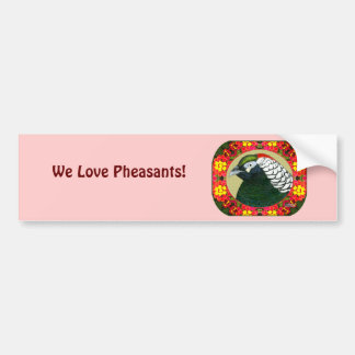 Amherst Pheasant and Flowers Bumper Sticker