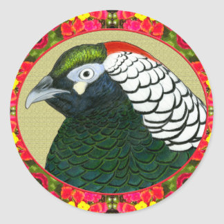 Amherst Pheasant and Flowers Classic Round Sticker
