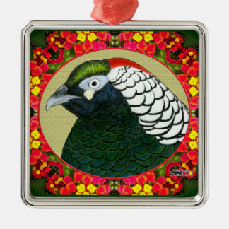 Amherst Pheasant and Flowers Metal Ornament