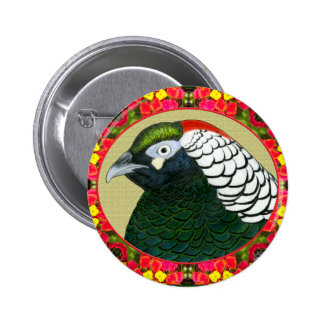 Amherst Pheasant and Flowers Pinback Button