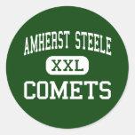 Amherst Steele - cometas - alto - Amherst Ohio Pegatina Redonda