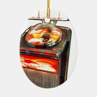 AMI Continental 2 Jukebox Double-Sided Oval Ceramic Christmas Ornament