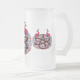 Amiable Atheist Peacock Frosted Glass Beer Mug